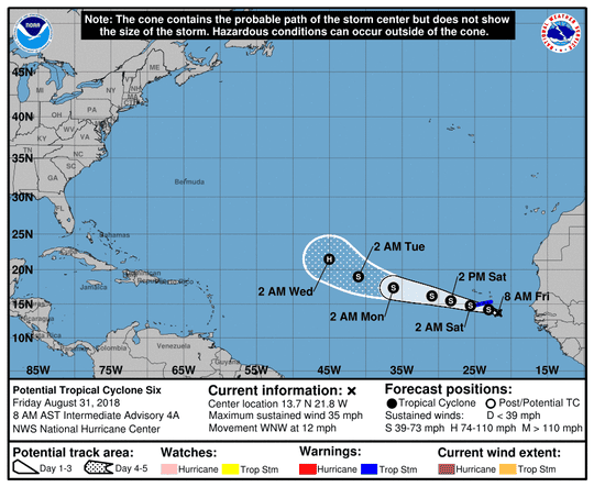 Potential Tropical Cyclone 6 8 a.m. Aug. 31, 2018.