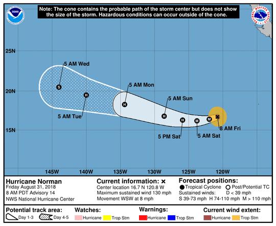 Hurricane Norman 11 a.m. Aug. 31, 2018.