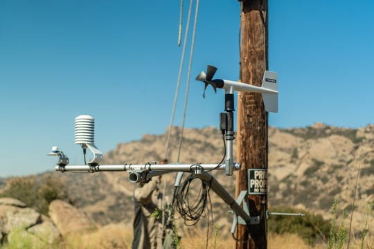 One of the new weather stations was installed on a pole in Simi Valley.