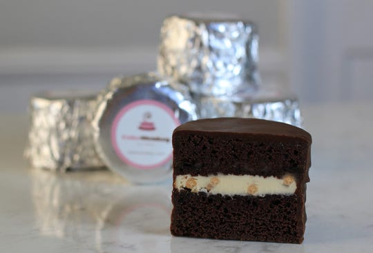 Filled with a variety of creams and covered in bittersweet chocolate, Cake Monkey's foil-wrapped cakewiches are elevated versions of the snack treats co-owner Lisa Olin ate as a kid, she says.