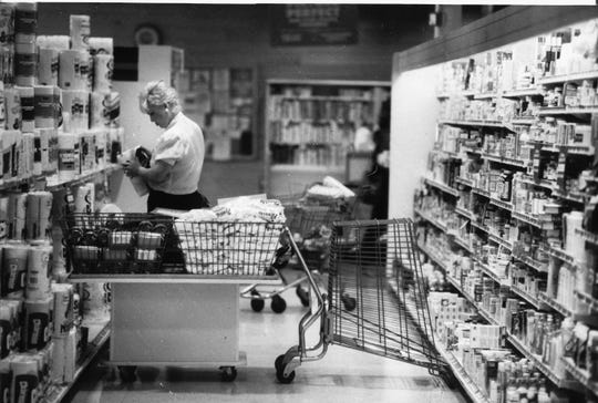 A shopping cart served as a barricade to keep shoppers away from the toilet paper at the Grand Union supermarket in Paramus as the city enforced the Sunday blue laws, August 24, 1986.