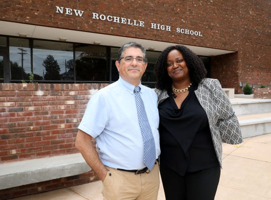 Joseph Starvaggi, the interim principal and Camille Edwards-Thomas, the interim assistant principal at New Rochelle High School, are pictured at the school, Aug. 31, 2918.