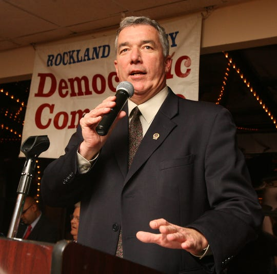 Tim O'Neill speaks following his defeat in the Rockland County sheriff's race.