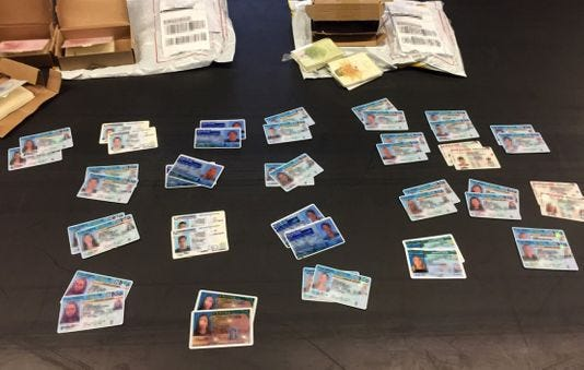 Seized Fake Philadelphia 500 Cargo Delaware Ids Among In