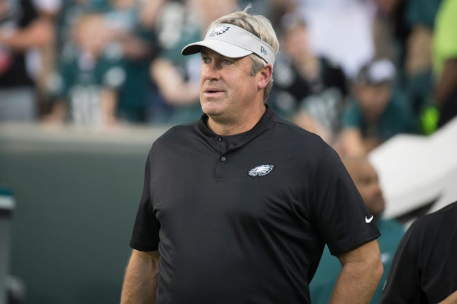 Eagles head coach Doug Pederson takes the field before they face the New York Jets in their last preseason game Thursday at Lincoln Financial Field.