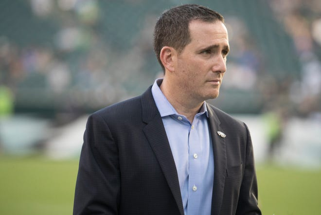 Executive Vice President of Football Operations for the Philadelphia Eagles Howie Roseman walks the field before the Eagles face the New York Jets Thursday at Lincoln Financial Field.