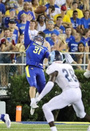 Delaware punter Nick Pritchard can't reach a second-quarter snap.