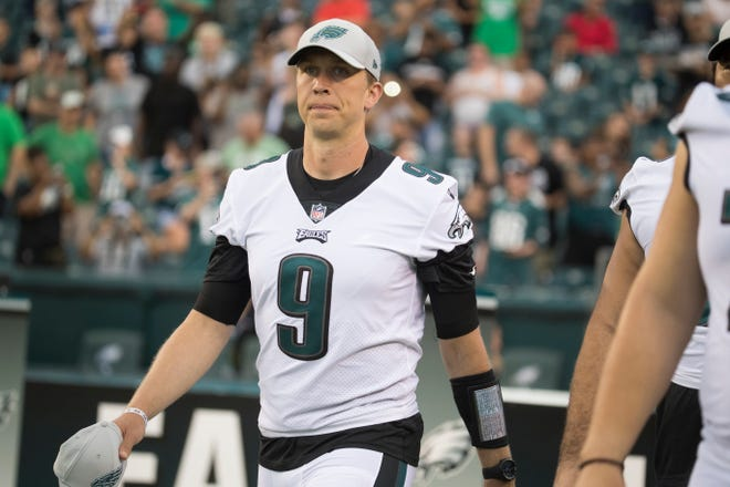 Eagles' Nick Foles takes the field before they face the New York Jets in their last preseason game Thursday at Lincoln Financial Field.