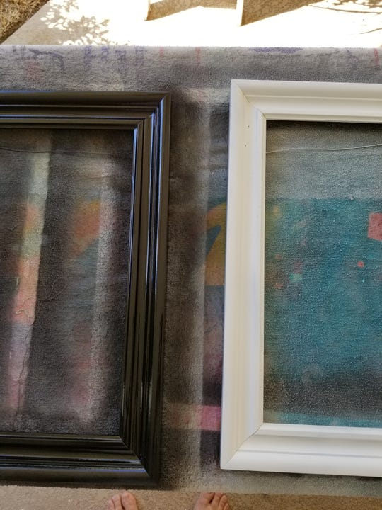 First step in making antique mirror: Remove the backing and the glass out of your frame and clean the frame thoroughly.  Using your spray primer and choice of color in spray paint, prime and paint your frame. Let dry completely.