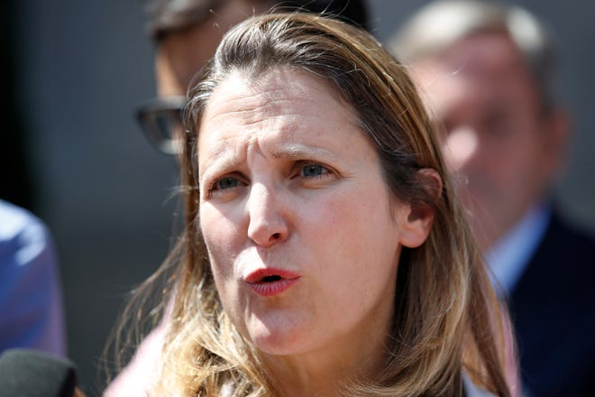 Canada's Foreign Affairs Minister Chrystia Freeland speaks to the media during a break in trade talk negotiations at the Office of the United States Trade Representative, Thursday, Aug. 30, 2018, in Washington.