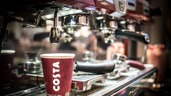 United Kingdom-based coffee chain Costa, acquired by Coca-Cola, has more than 4,000 retail locations worldwide.