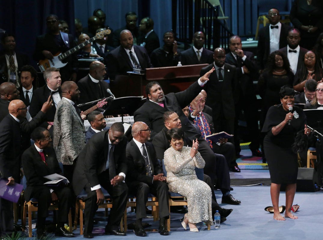 Fantasia Barrino delights the crowd during the funeral for the late Aretha Franklin.