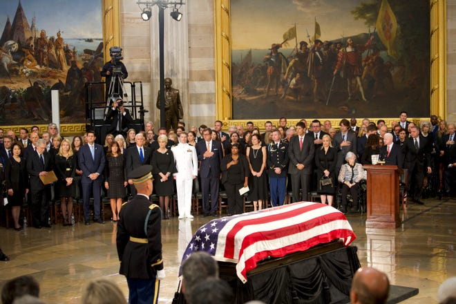 The body of John McCain lies in state at the U.S. Capitol in Washington on Aug. 31, 2018 in Washington.