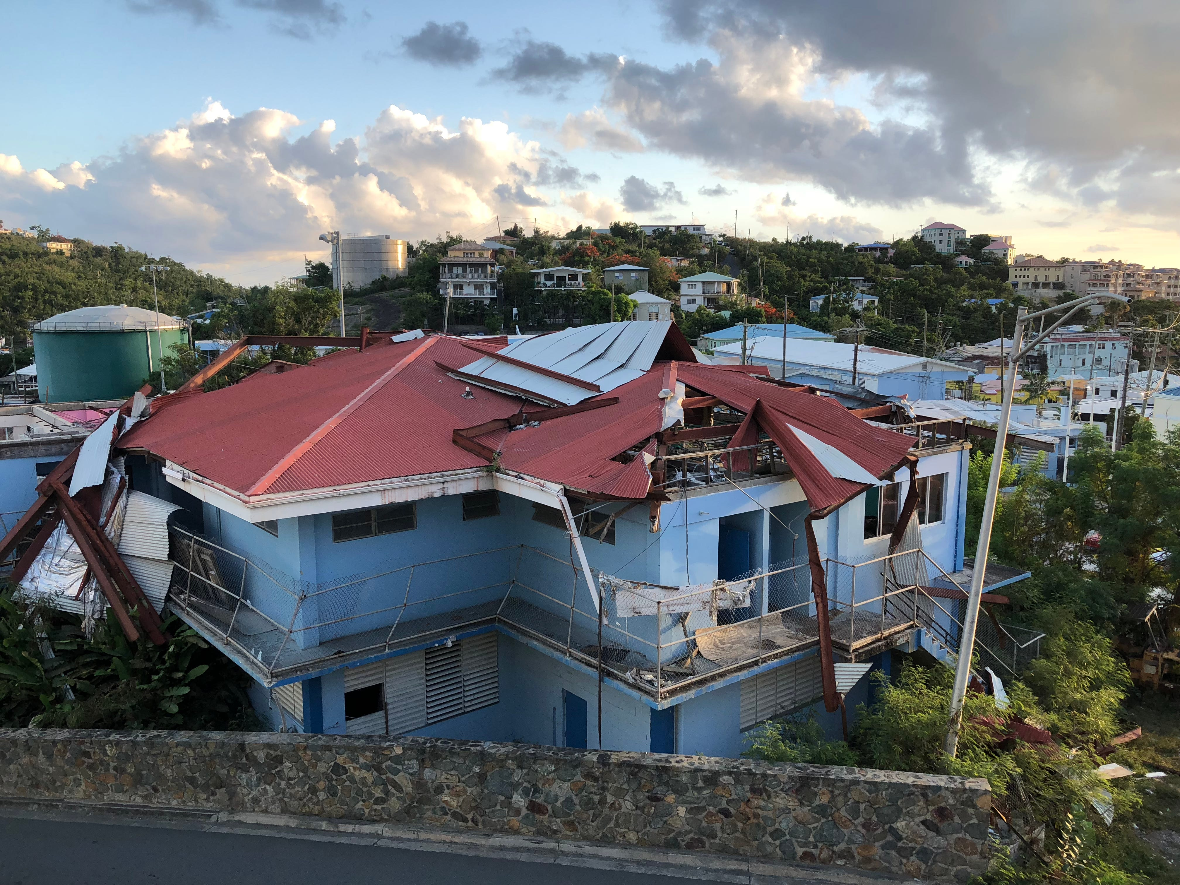 Many buildings around the U.S. Virgin Islands damaged from Hurricane Irma last year have yet to be repaired, such as this one in St. John.