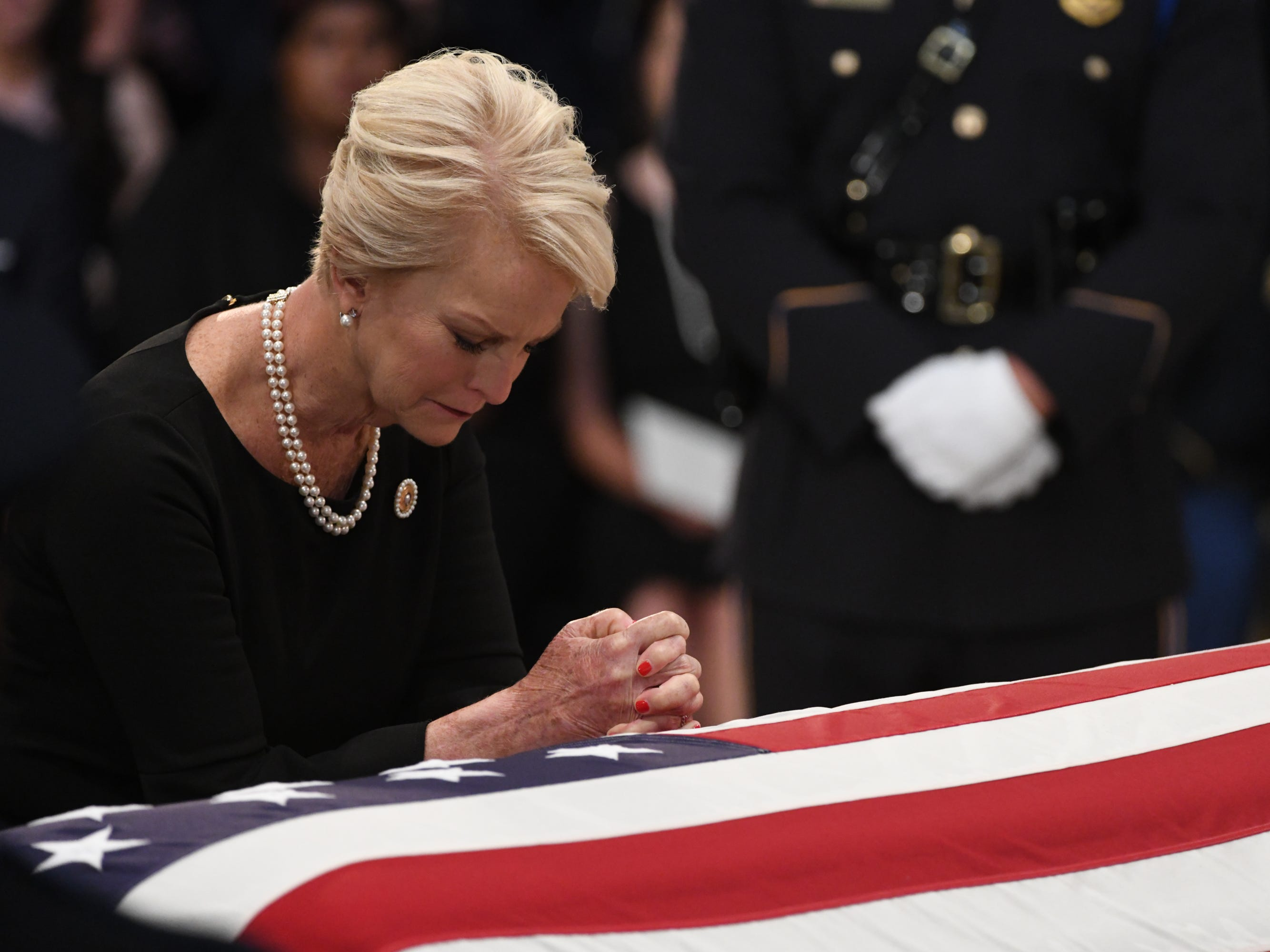 8/31/18 11:24:15 AM -- Washington, DC, U.S.A  -- Cindy McCain pays her respects as the body of her husband, John McCain, lies in state at the U.S. Capitol in Washington on Aug. 31, 2018 in Washington. Sen. McCain died on Aug. 25. --    Photo by  Staff ORG XMIT:  JC 137436 McCain U.S. Capi 8/31/2018 (Via OlyDrop)