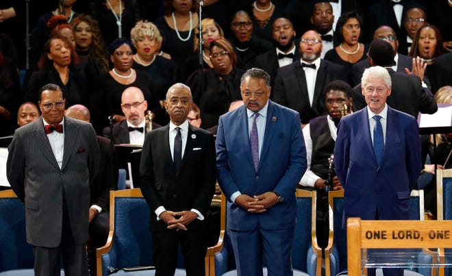Louis Farrakhan, from left, Rev. Al Sharpton, Rev. Jesse Jackson and former President Bill Clinton attend the funeral service for Aretha Franklin at Greater Grace Temple in Detroit on Aug. 31, 2018.