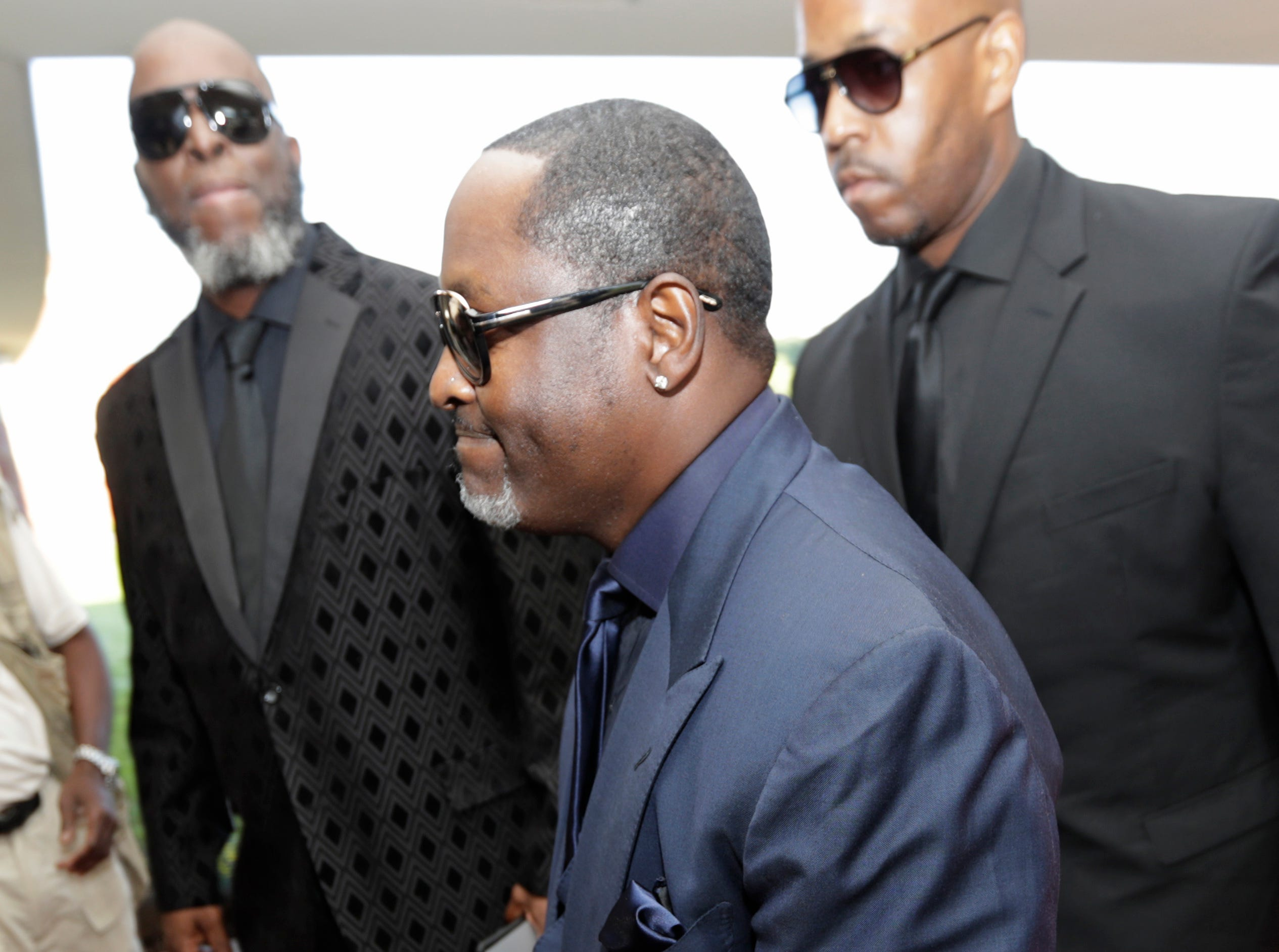 American singer-songwriter Johnny Gill arrives at Greater Grace Temple for legendary singer Aretha Franklin's funeral in Detroit, Friday, Aug. 31, 2018. Franklin died Aug. 16 of pancreatic cancer at the age of 76. (AP Photo/Tony Dejak) ORG XMIT: MITD112