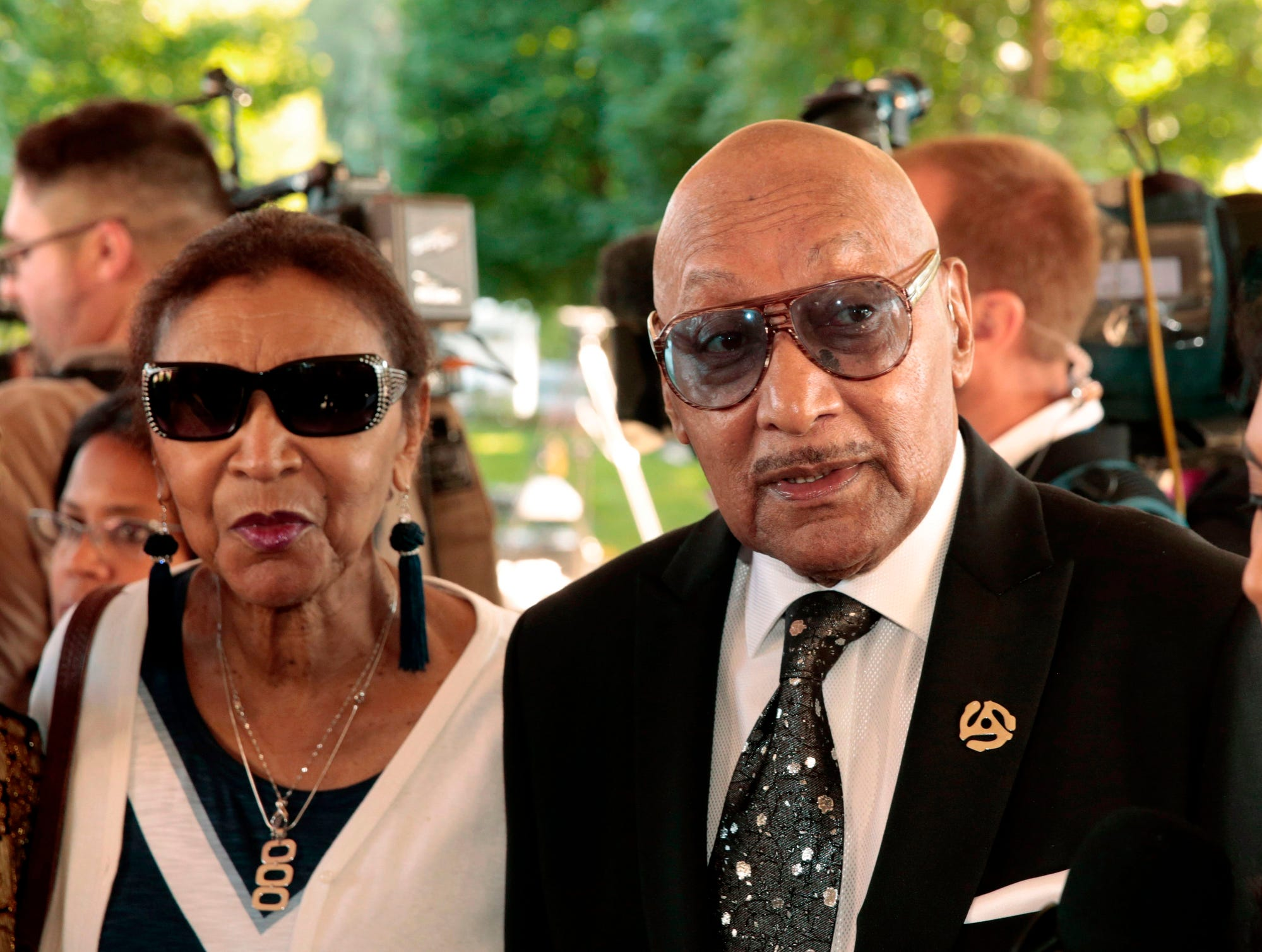 Duke Fakir, fight, the last surviving member of the Four Tops arrives for Aretha Franklin's funeral at the Greater Grace Temple.