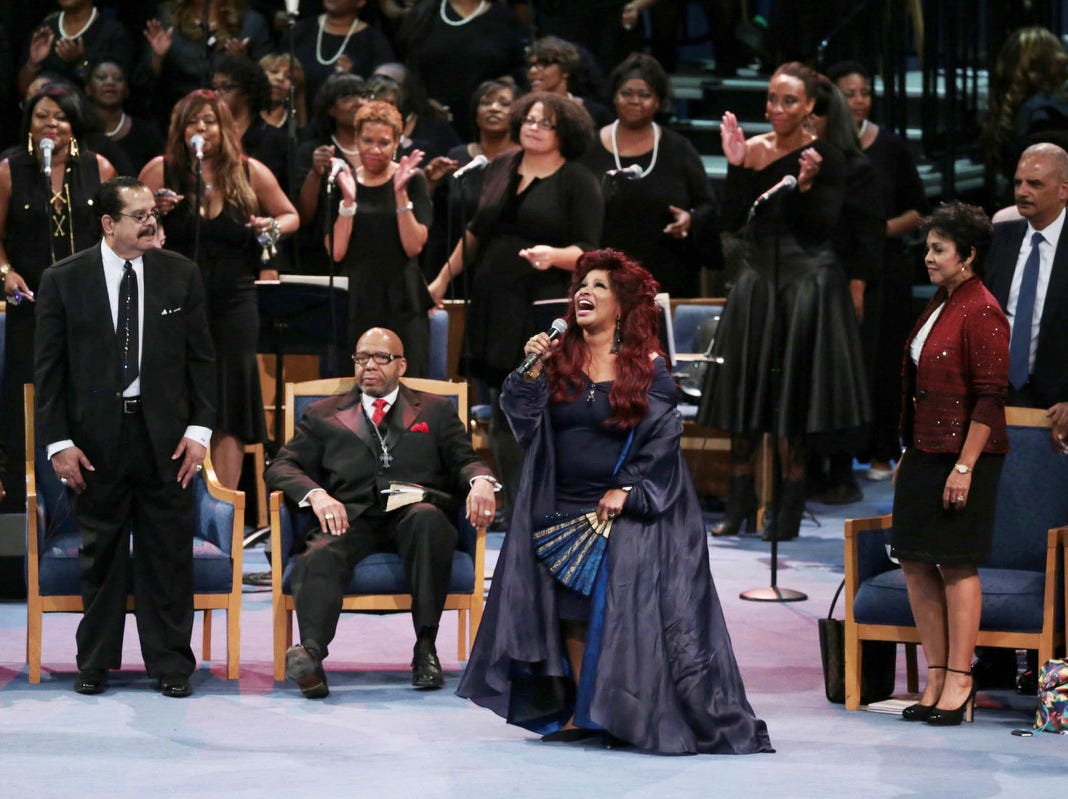 Chaka Khan performs a musical tribute during the funeral.