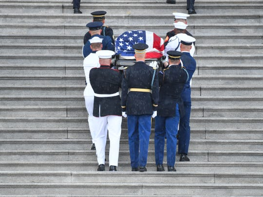 The body of John McCain arriving at the U.S. Capitol in Washington before lying in state on Aug. 31, 2018.