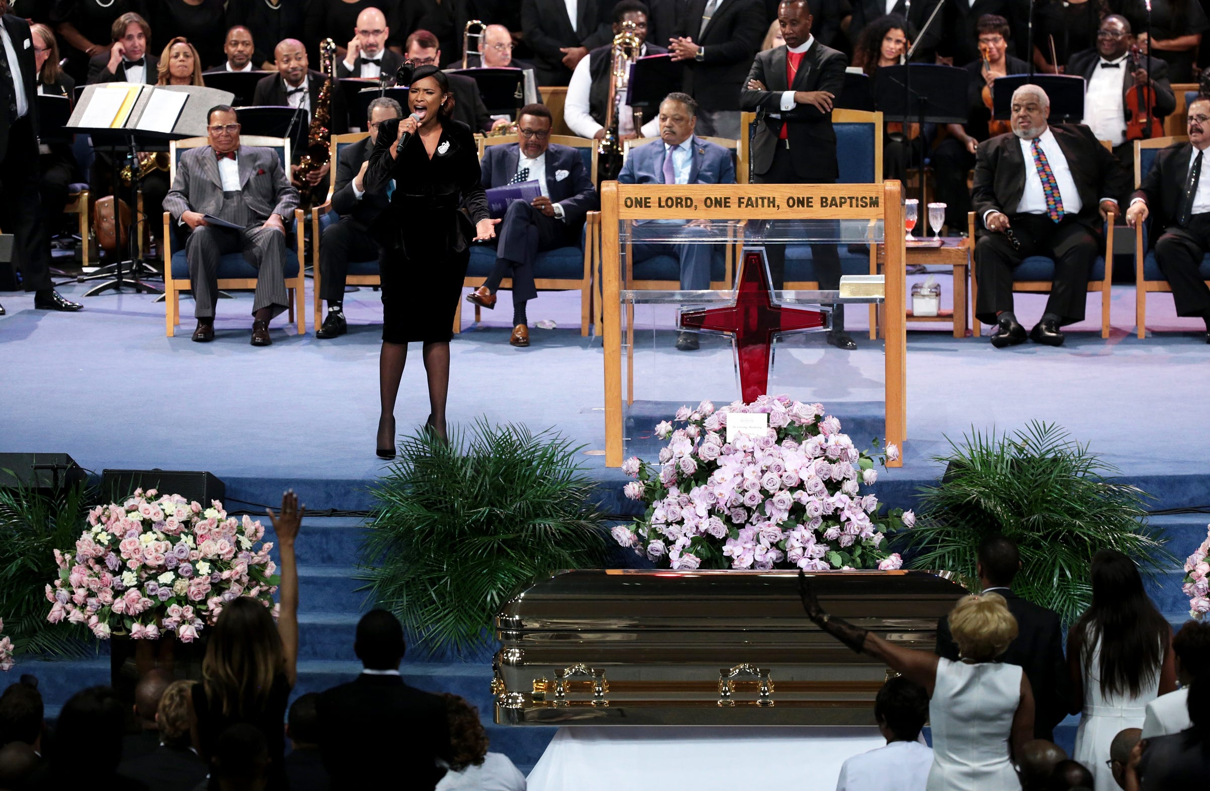 "Jennifer Hudson sings ""Amazing Grace"" during the funeral for the late Aretha Franklin at Greater Grace Temple in Detroit on Friday."