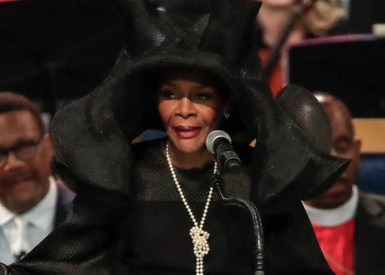 Cicely Tyson, 93, speaks during the funeral service for Aretha Franklin at the Greater Grace Temple in Detroit, Aug. 31, 2018.