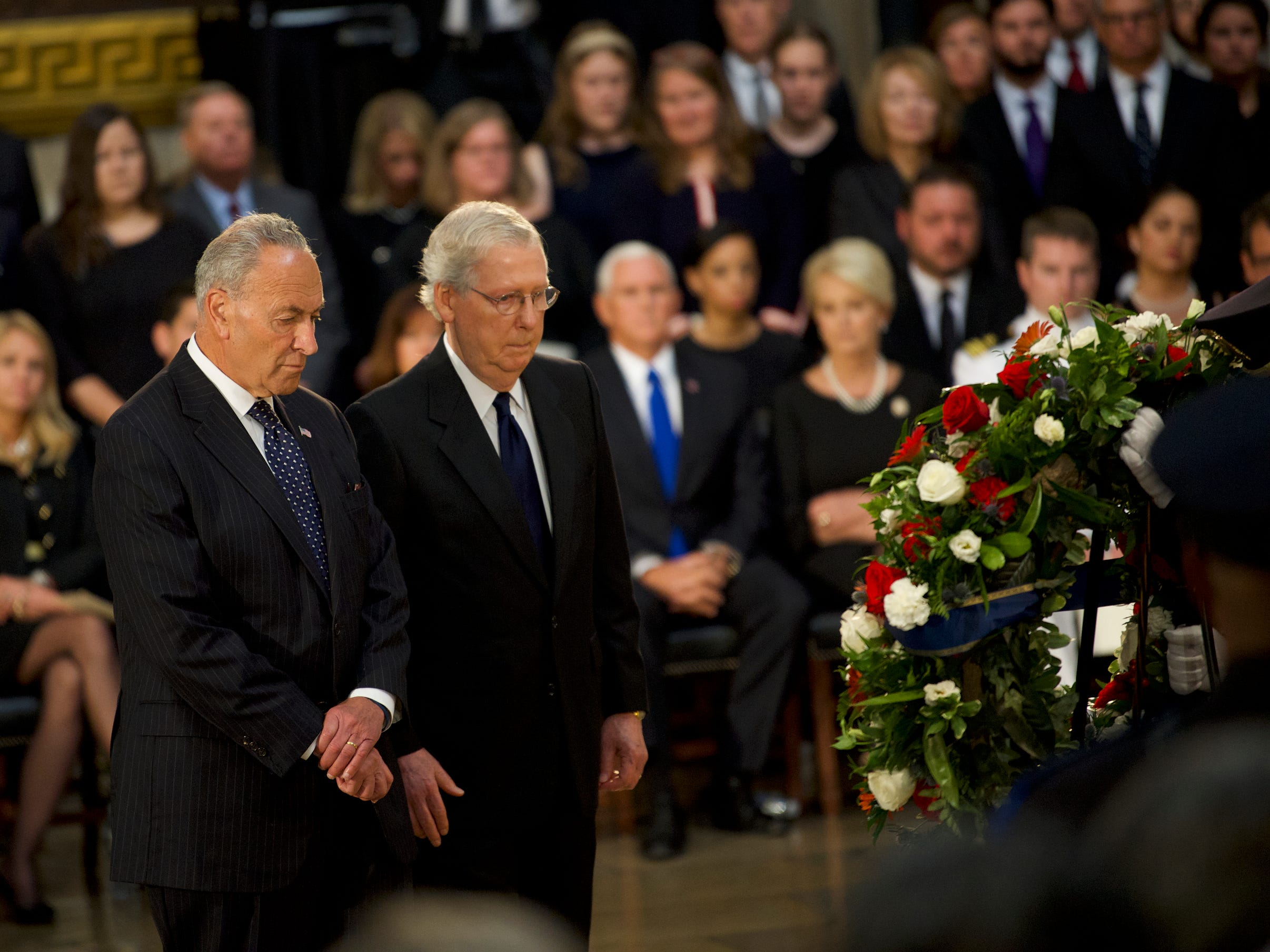 8/31/18 11:17:42 AM -- Washington, DC, U.S.A  -- Senators Chuck Schumer and Mitch McConnell present a wreath as the body of John McCain lies in state at the U.S. Capitol in Washington on Aug. 31, 2018 in Washington. Sen. McCain died on Aug. 25. --    Photo by Jasper Colt, USA TODAY Staff ORG XMIT:  JC 137436 McCain U.S. Capi 8/31/2018 (Via OlyDrop)