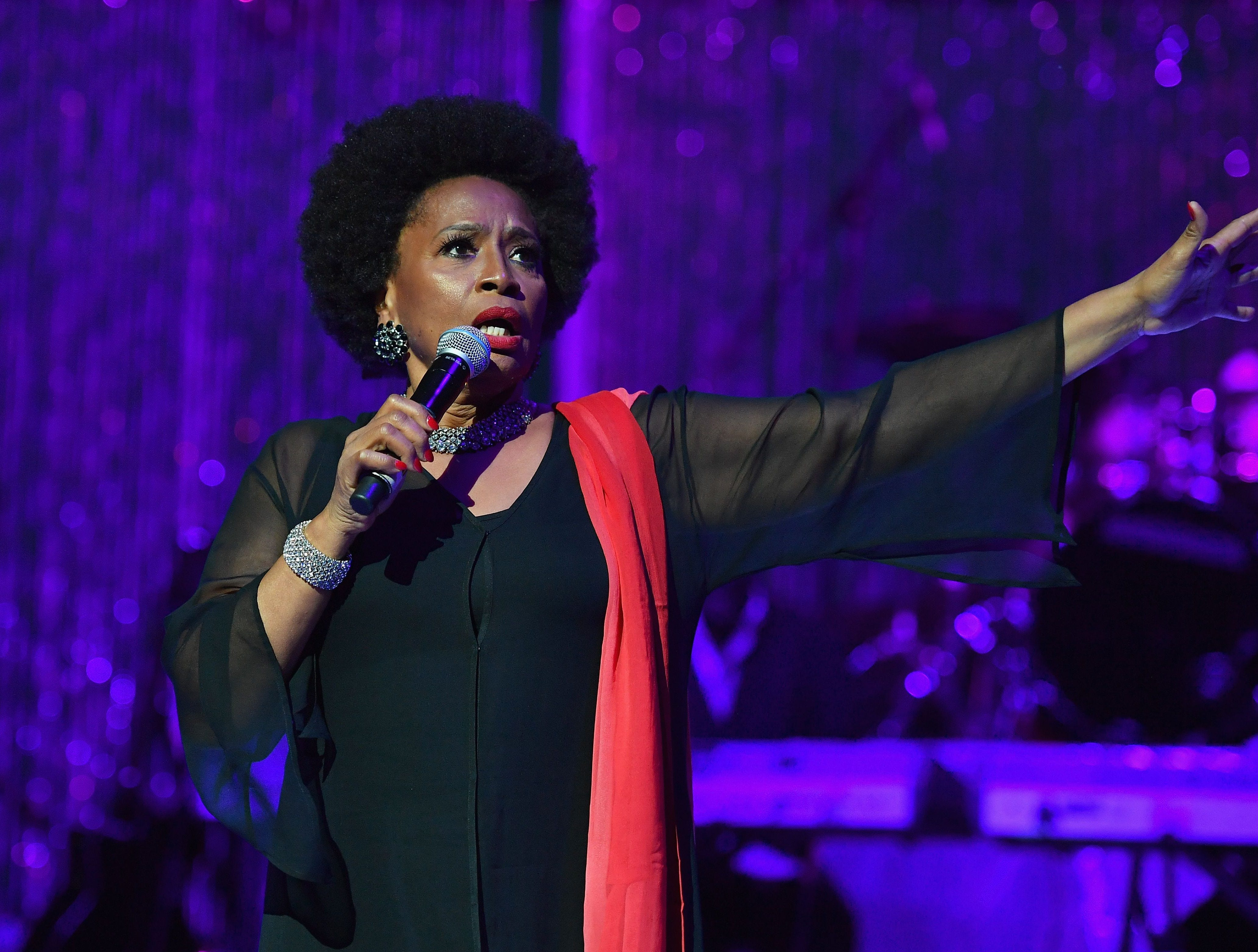 "US singer Jennifer Lewis performs during ""A People's Tribute to the Queen"", an Aretha Franklin tribute event at Chene Park amphitheatre on August 30, 2018 in Detroit, Michigan. - The 76-year-old singer, beloved by millions around the world, died of cancer on August 16, closing the curtain on a glittering six-decade career that made her one of America's most celebrated artists. (Photo by Angela Weiss / AFP)ANGELA WEISS/AFP/Getty Images ORIG FILE ID: AFP_18Q4ID"