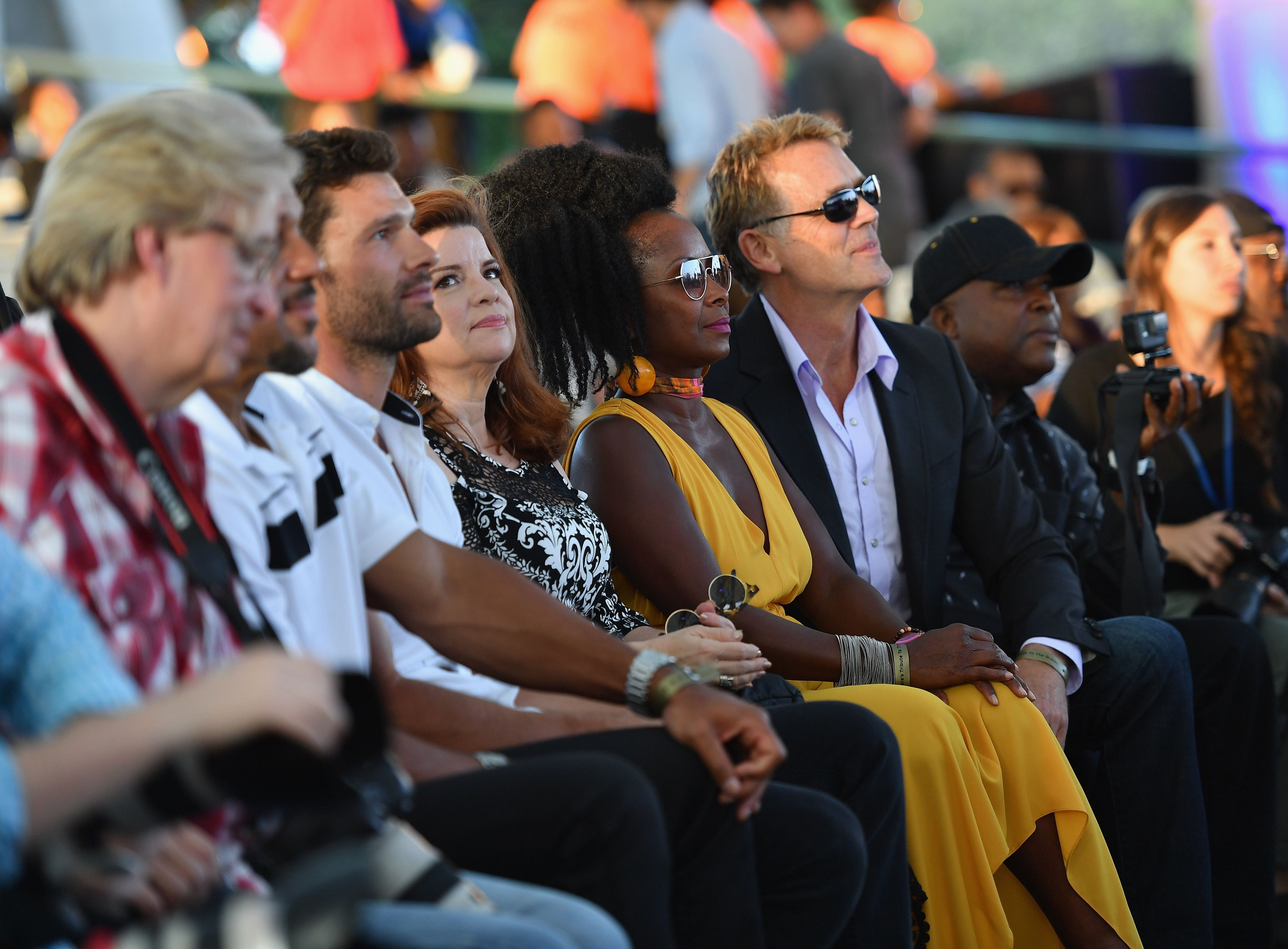 "Cast members from The Tyler Perry Show including (fromL) Aaron O'Connell, Renee Lawless and Crystal R Fox attend ""A People's Tribute to the Queen"", an Aretha Franklin tribute event at Chene Park amphitheatre on August 30, 2018 in Detroit, Michigan. - The 76-year-old singer, beloved by millions around the world, died of cancer on August 16, closing the curtain on a glittering six-decade career that made her one of America's most celebrated artists. (Photo by Angela Weiss / AFP)ANGELA WEISS/AFP/Getty Images ORIG FILE ID: AFP_18Q4EW"