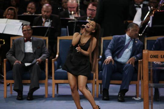 Ariana Grande performs during the funeral for the late Aretha Franklin in Detroit on Aug. 31, 2018.  ORG XMIT: USATSI-384369 ORIG FILE ID:  20180831_jel_usa_084.jpg