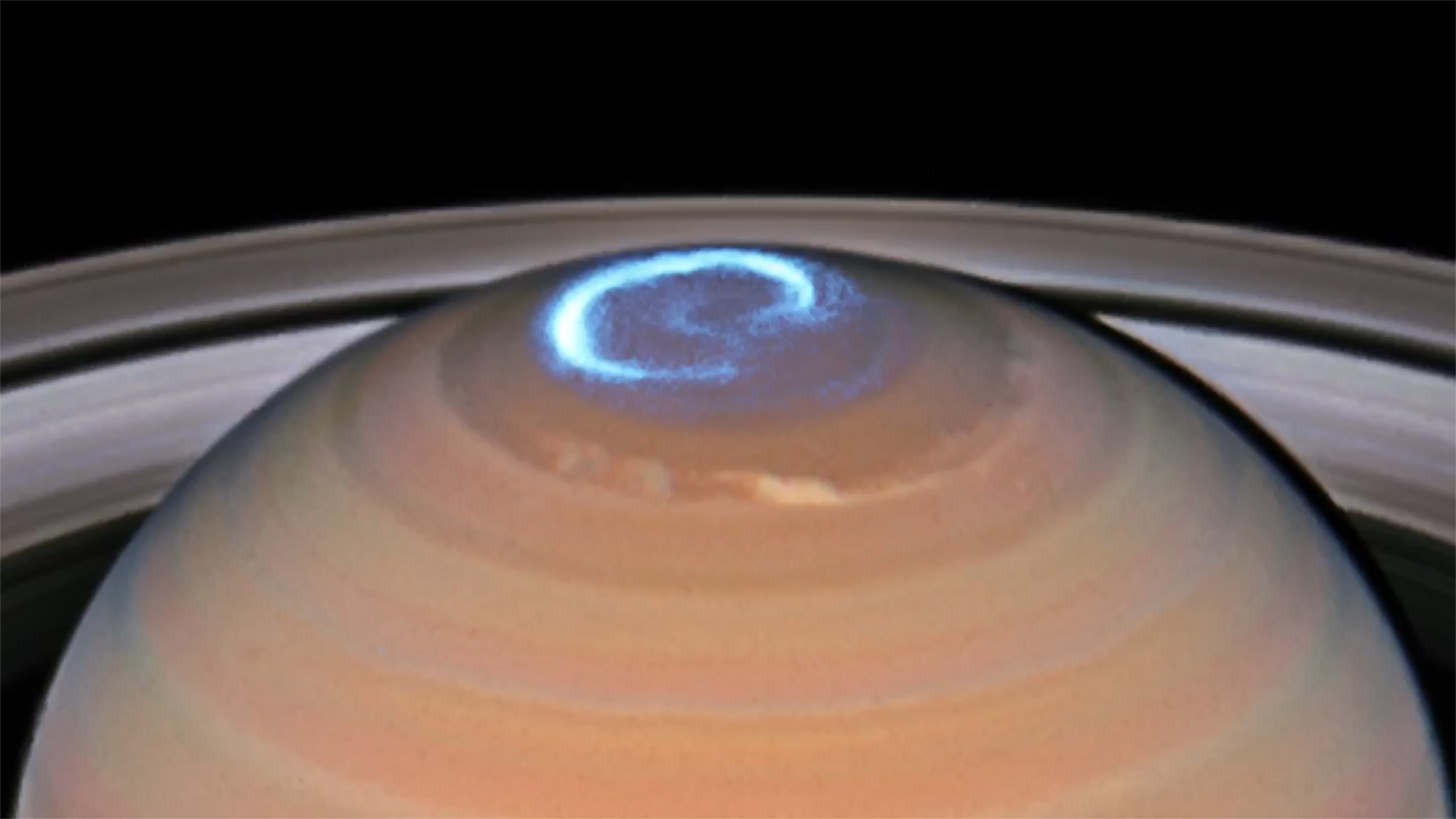 Nasa animation shows saturns auroras glowing blue thecheapjerseys Images
