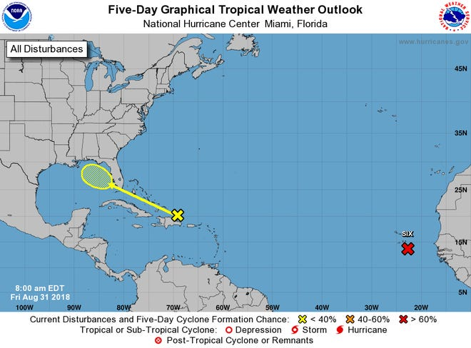Two tropical systems are being watched in the Atlantic. The system near Africa (red x) is forecast to become Hurricane Florence. The other one, the yellow x near the Domincan Republic, could develop into a tropical depression or storm in the Gulf of Mexico next week.