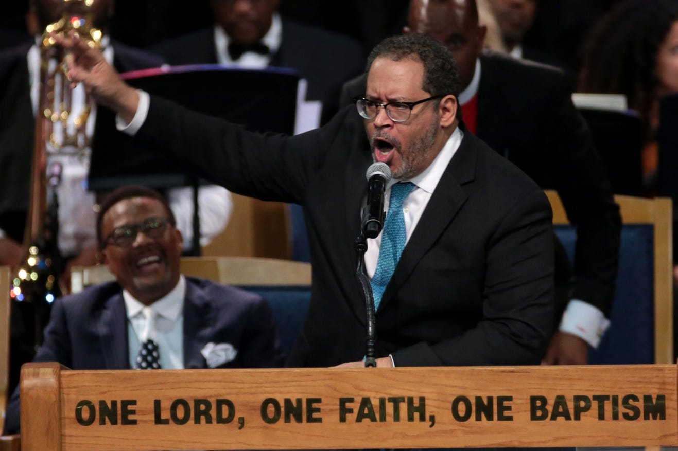 Michael Eric  Dyson, Professor  of  Sociology for Georgetown  University, speaks during the funeral for the late Aretha Franklin.