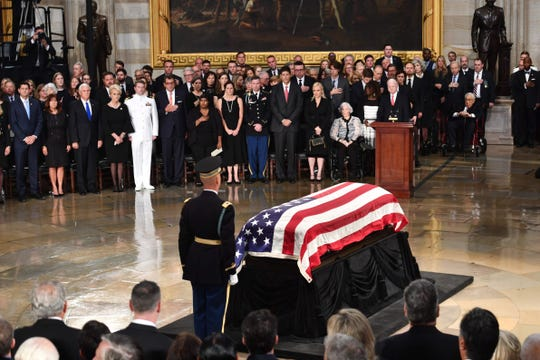 US Sen. John McCain lies in state at the US Capitol Rotunda on August 31, 2018.