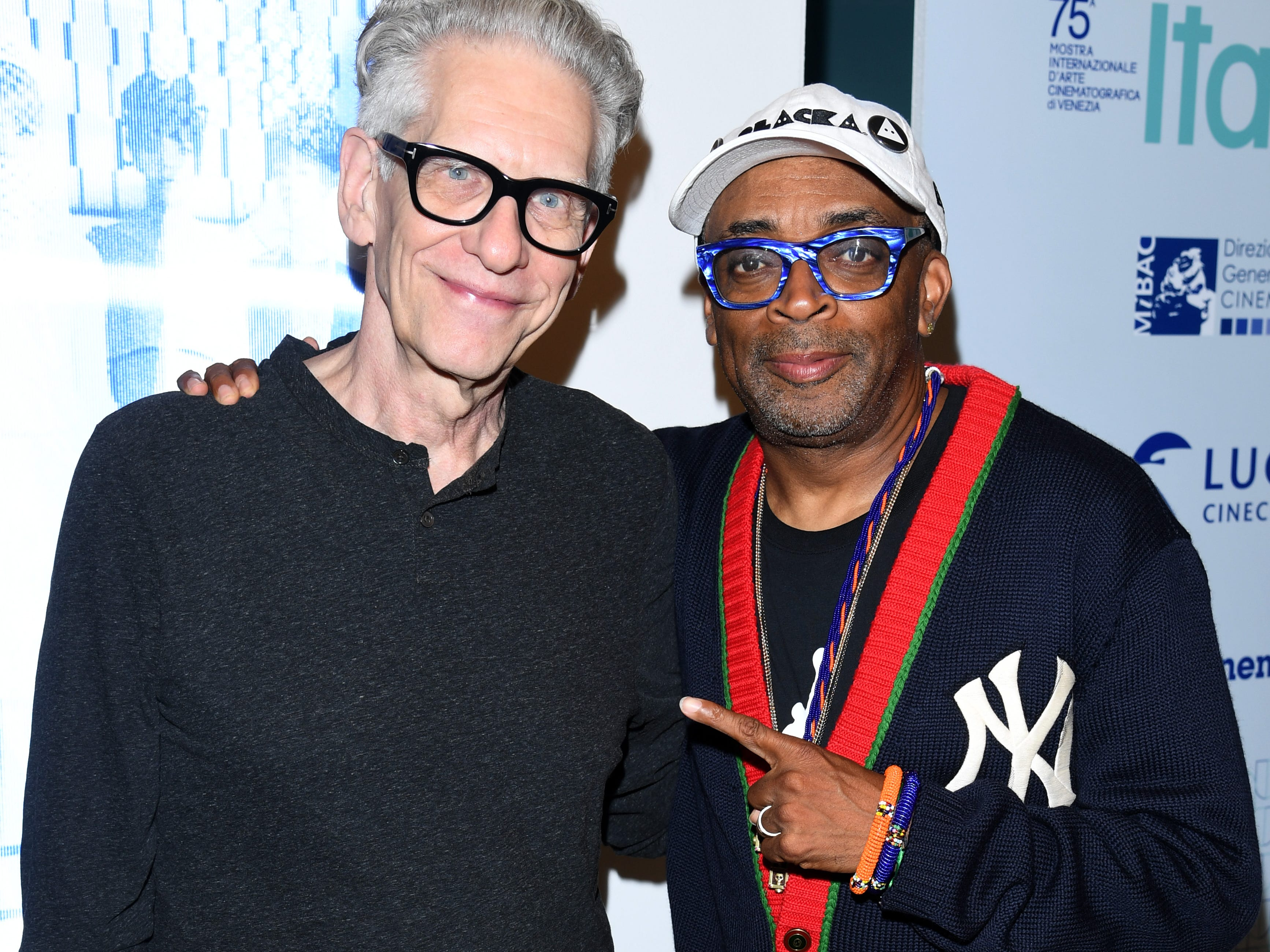 Filmmakers Spike Lee (right) and David Cronenberg attend Innovating The Creative Experience, The Future Of Cinema during the 75th Venice Film Festival at Excelsior Hotel.