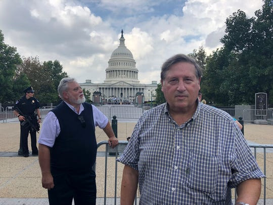 Kris Wiebold, left, of Berkeley Springs, West Virginia, was the first in the series to see the coffin of Senator John McCain. The US Capitol in Washington, August 31, 2018. Larry Hornstein, right, was second.