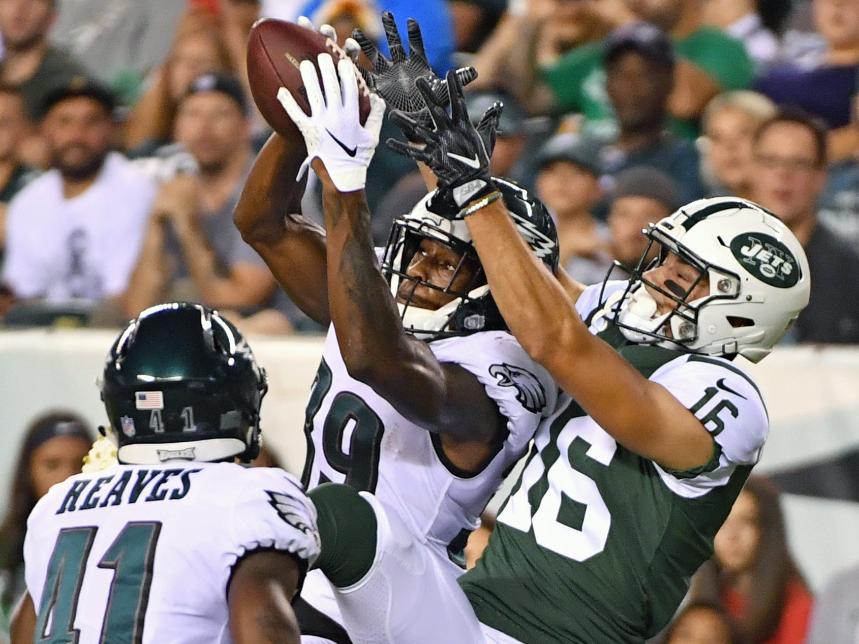 Philadelphia Eagles defensive back Chandon Sullivan (39) intercepts a pass intended for New York Jets wide receiver Chad Hansen (16) during the first quarter at Lincoln Financial Field.