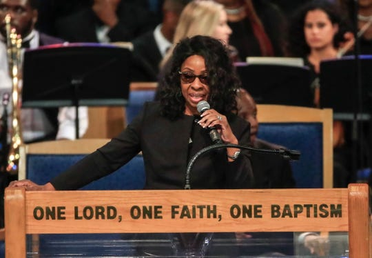 Gladys Knight performs at funeral funeral service for Aretha Franklin at the Greater Grace Temple in Detroit, Aug. 31, 2018.