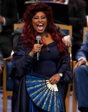 Chaka Khan performs at Aretha Franklin's funeral on August 31, 2018 in Detroit.