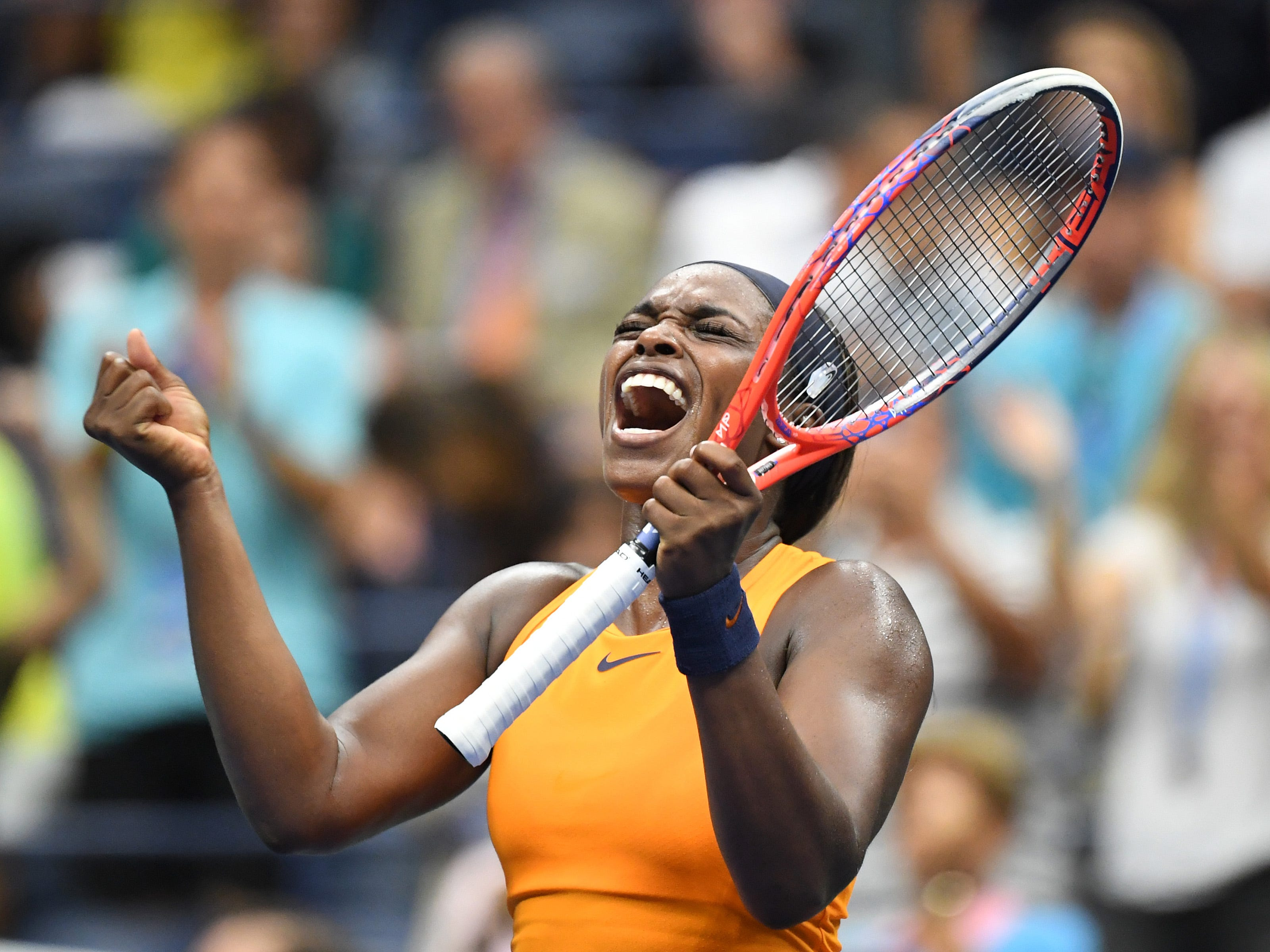 Reigning US Open champion and No. 3 seed Sloane Stephens celebrates after her 6-3, 6-4 third-round victory over two-time US Open finalist Victoria Azarenka.