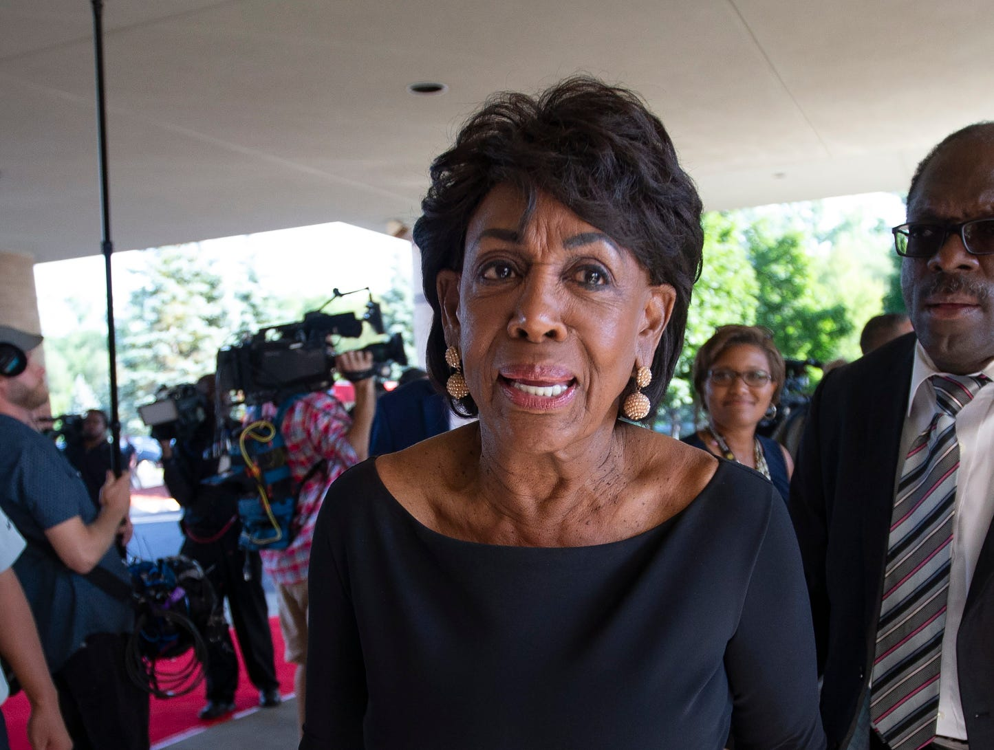 US Congresswoman Maxine Waters arrives for the funeral of Aretha Franklin.