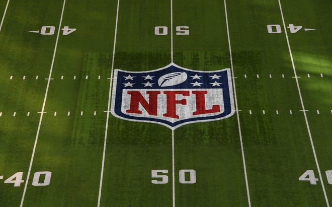 A general view of the NFL shield logo on the field before Super Bowl LII between the Philadelphia Eagles and the New England Patriots at U.S. Bank Stadium.