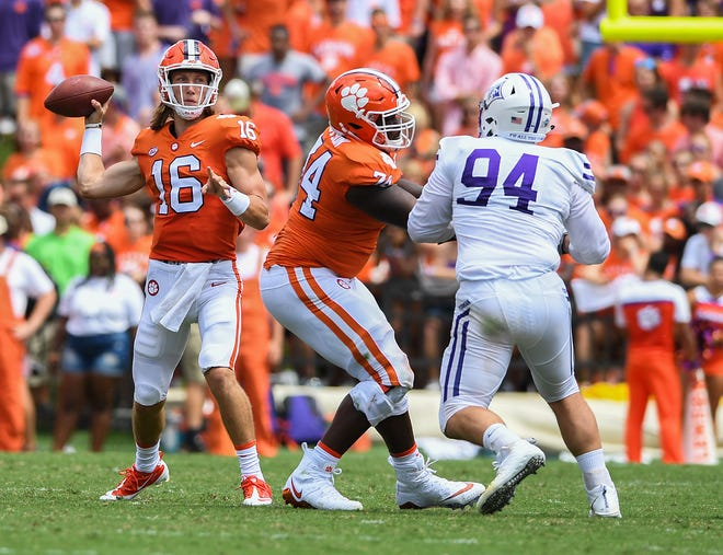 Clemson quarterback Trevor Lawrence (16) passes against Furman during the 2nd quarter Saturday, September 1, 2018 at Clemson's Memorial Stadium.