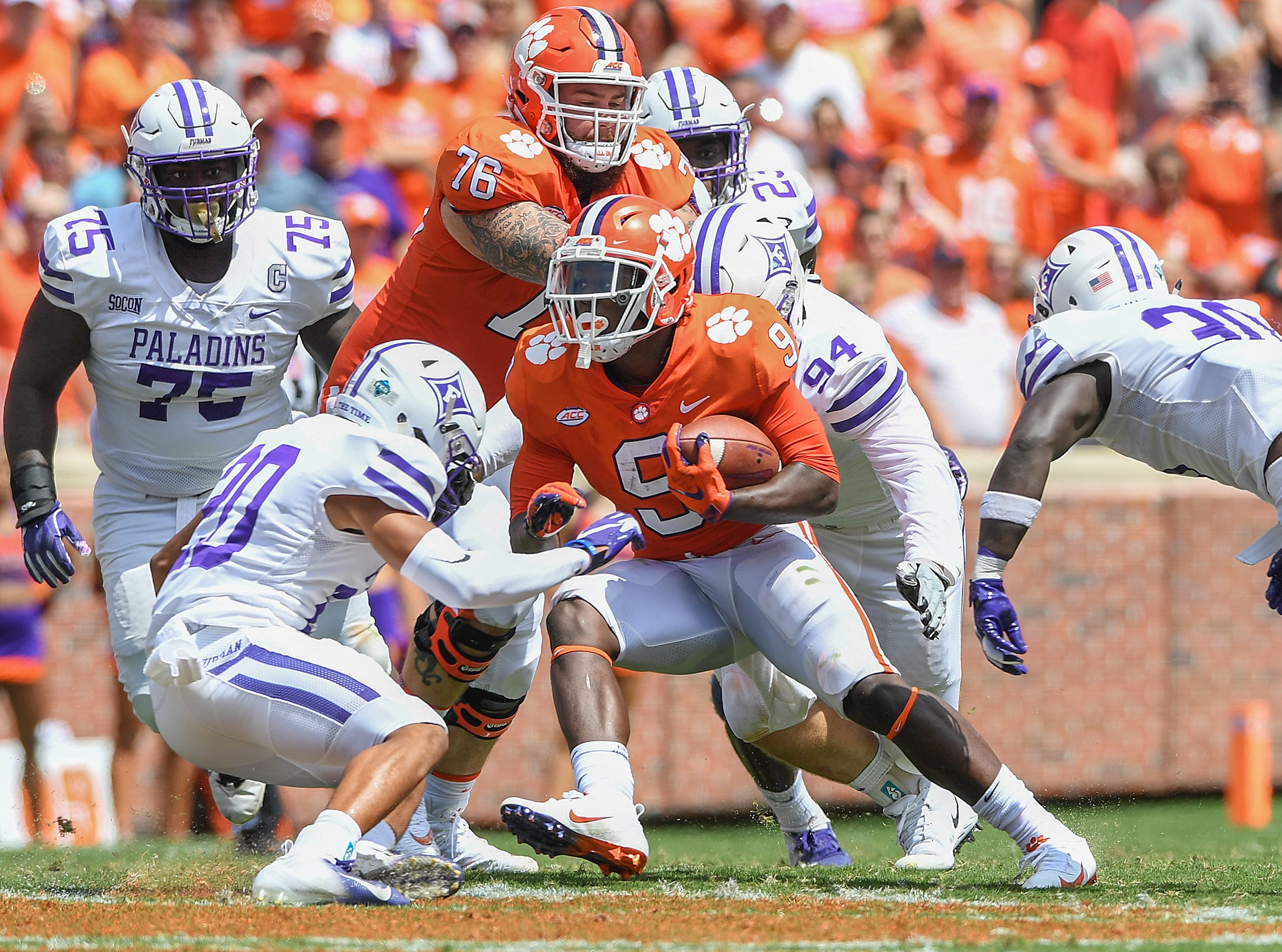 Clemson running back Travis Etienne (9) carries against Furman during the 2nd quarter Saturday, September 1, 2018 at Clemson's Memorial Stadium.