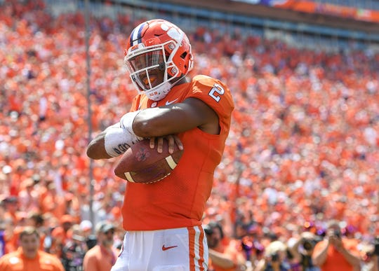 Clemson quarterback Kelly Bryant (2) scores against Furman during the 3rd quarter Saturday, September 1, 2018 at Clemson's Memorial Stadium.