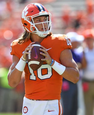 Clemson quarterback Trevor Lawrence (16) during pregame of the Tigers game against Furman Saturday, September 1, 2018 at Clemson's Memorial Stadium.