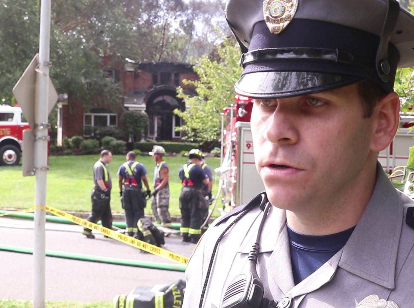 A home located at 6 Barrister Drive in Holmdel suffered severe damage after a fire broke out early morning on the back deck and quickly engulfed the structure. Holmdel police officer James Corrigan explains what happened. Holmdel, NJSaturday, September 1, 2018