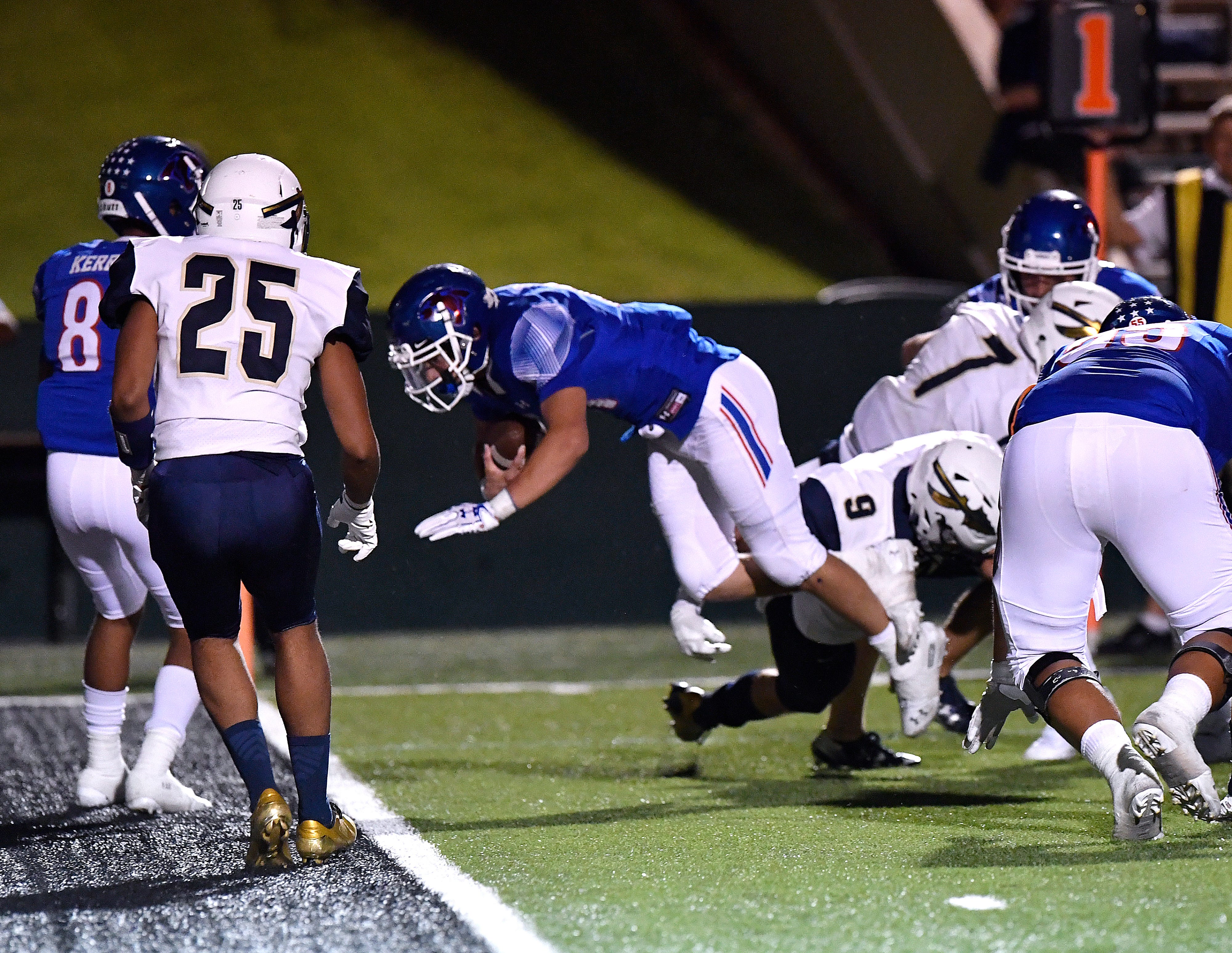 Cooper's Nic Bailey dives for a touchdown during the Cougars' game against Keller Friday August 31, 2018. Final score was 41-15, Keller.