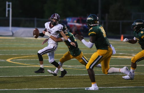 Owen quarterback Audun Meyers gets sacked by a Reynolds player on Friday, August 31st, 2018 at Reynolds.
