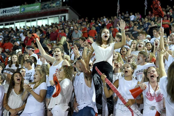 Pisgah fans react to a play during the Pisgah and Tuscola rivalry game at Pisgah Stadium in Canton on Friday, Aug. 31, 2018.